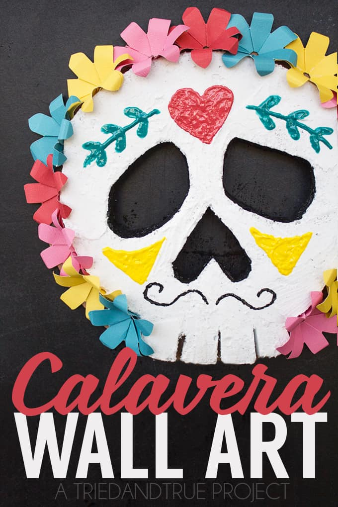 This Calavera Wall Art not only looks beautiful with your Dia de Los Muertos decor but is a breeze to make!