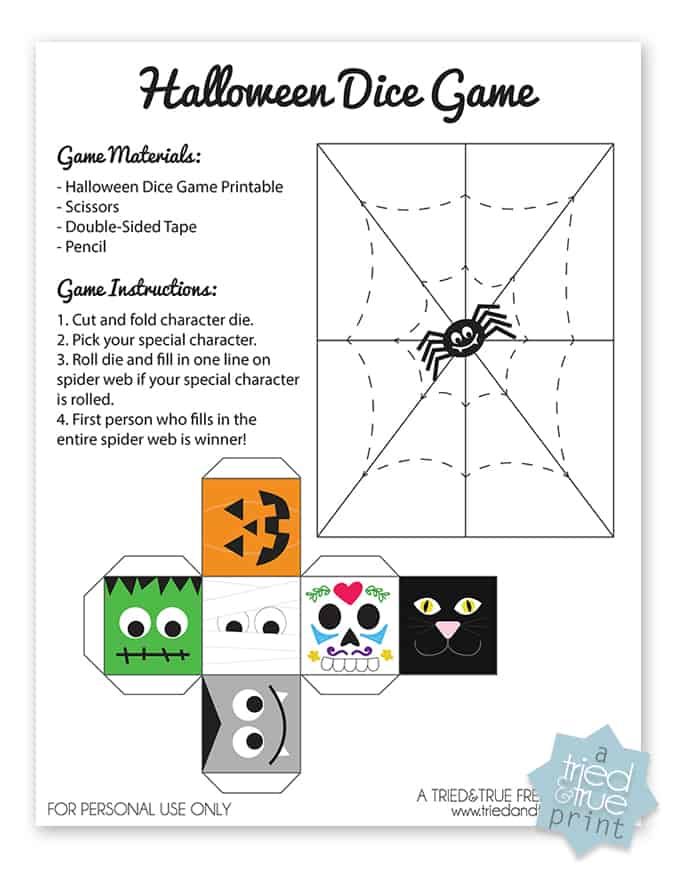 Halloween Dice Game - A Tried & True free printable