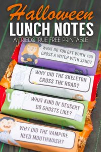 Print these Halloween Lunch Jokes for an easy way to delight your kids! Just print, cut, and tape around any granola bar!