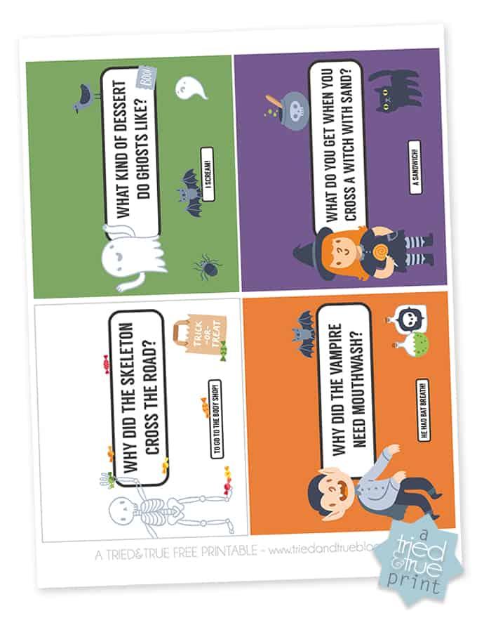 Halloween Lunch Jokes Free Printable - Print