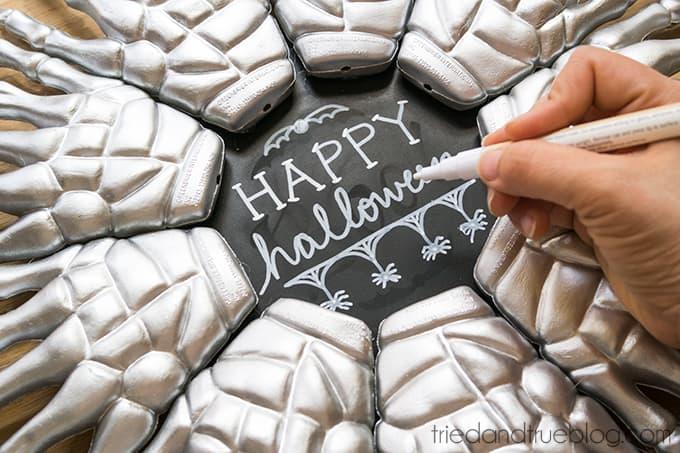 Skeleton Hands Halloween Wreath - Write