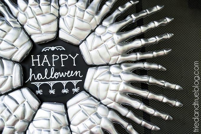 Skeleton Hands Halloween Wreath - Close Up