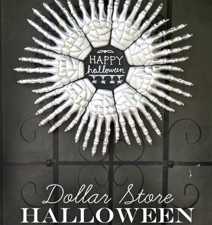 Make this fun Skeleton Hands Halloween Wreath with just a few inexpensive supplies. The perfect spooky greeting for your Halloween guests!