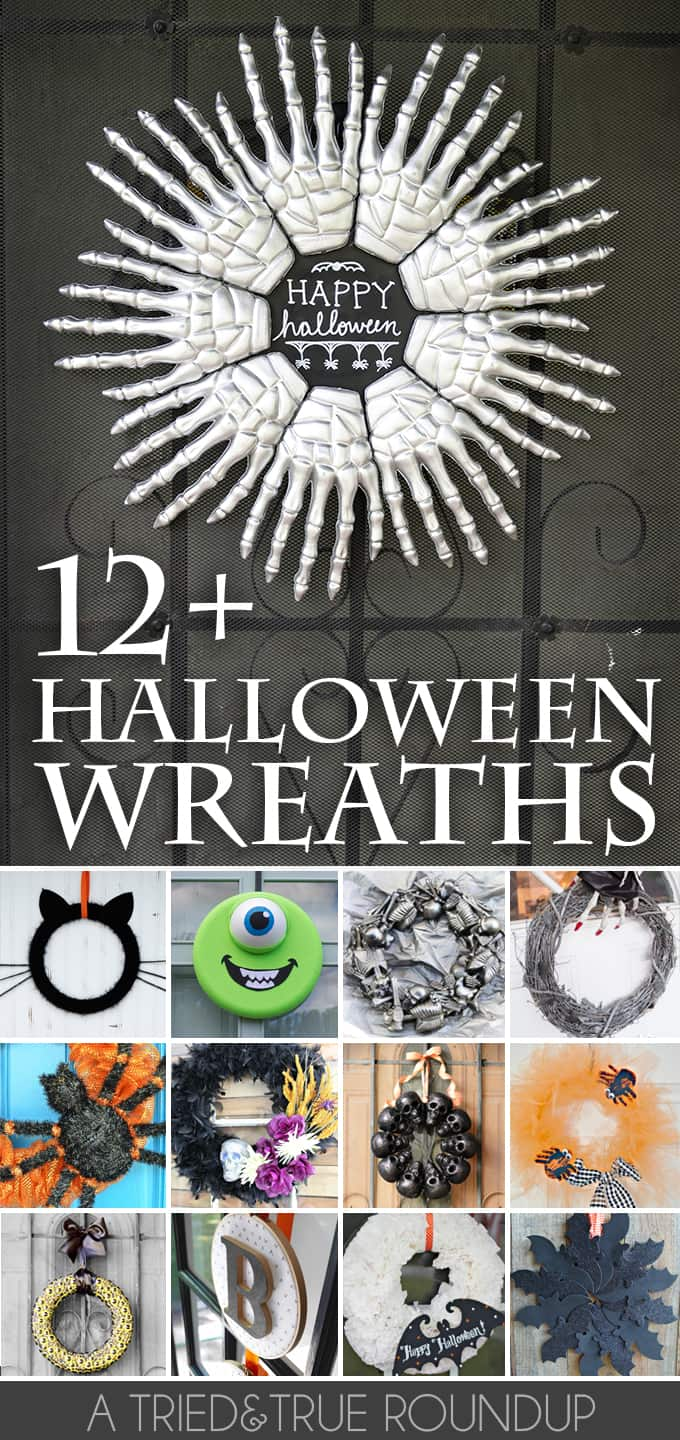 Check out these 12+ Halloween Wreath tutorials for the perfect way to greet your friends and family!