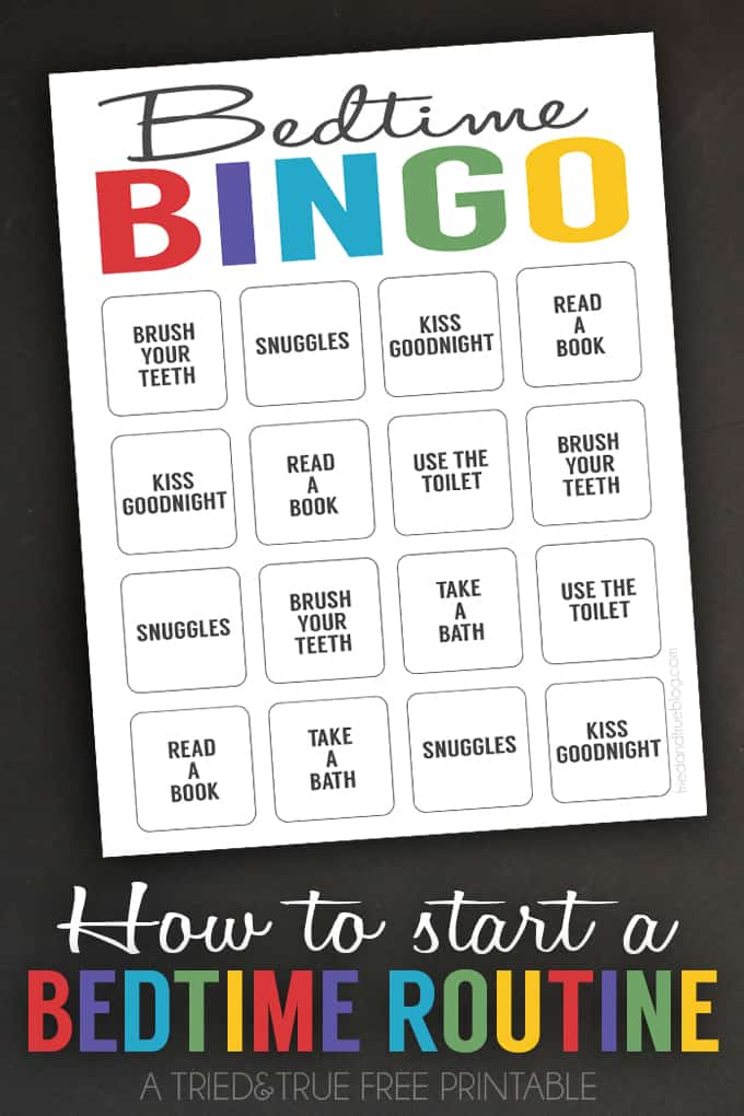 Help little kids get use to a bedtime routine with this free printable Bedtime Bingo!
