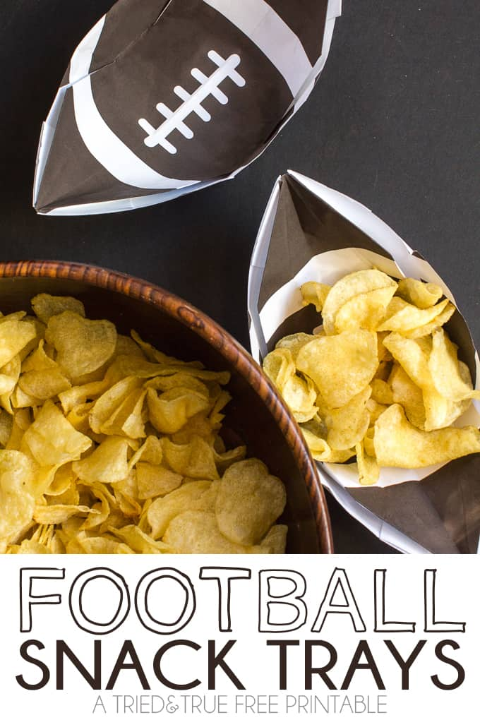 These Football Snack Trays are a super fun project for kids to make on the big game day! Includes free printable.