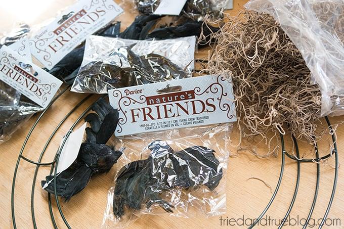 Black Crow Halloween Wreath - Supplies