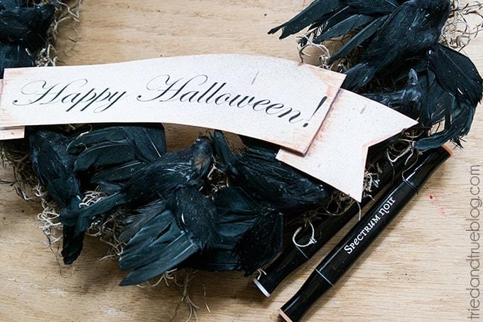 Black Crow Halloween Wreath - Shading