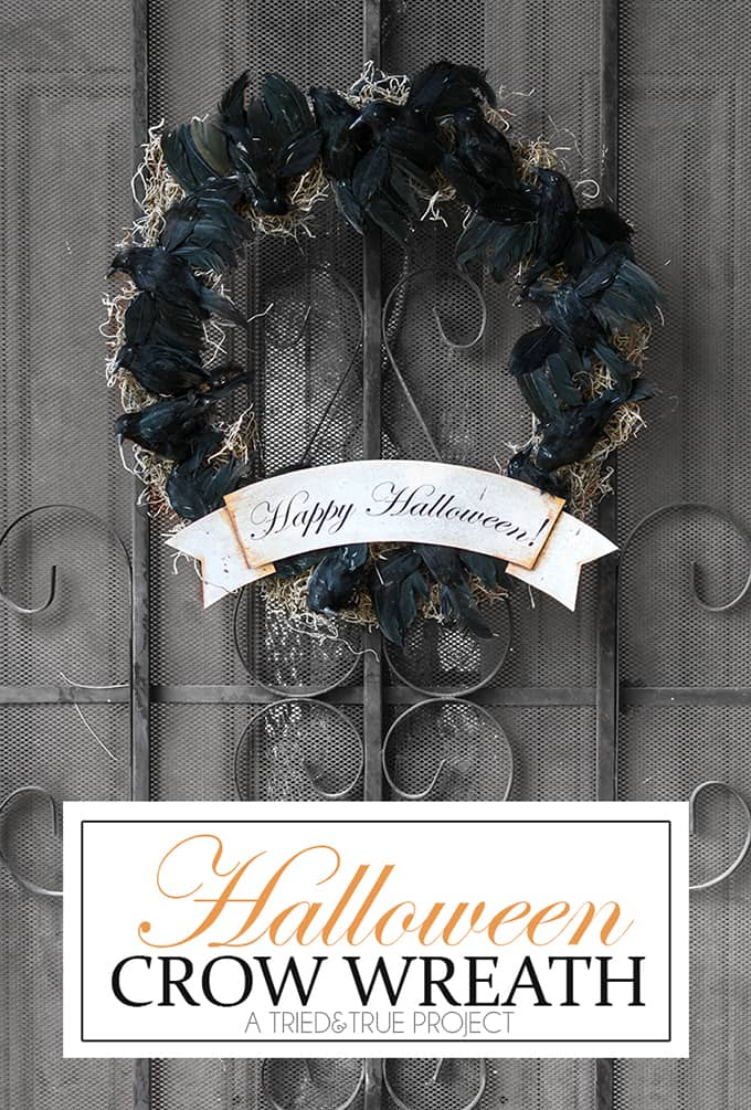 Make this simple Black Crow Halloween Wreath to greet all your ghoulish guests!