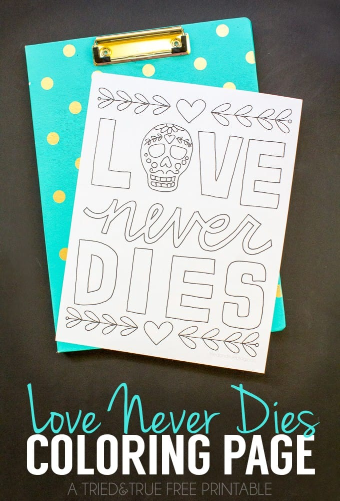 Love Never Dies Coloring Page
