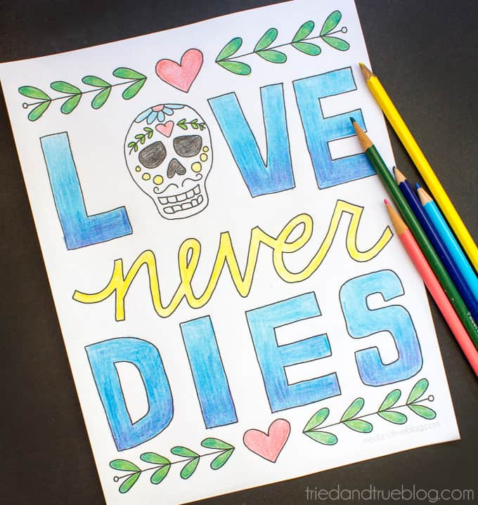 Love Never Dies Coloring Page - Inspiration
