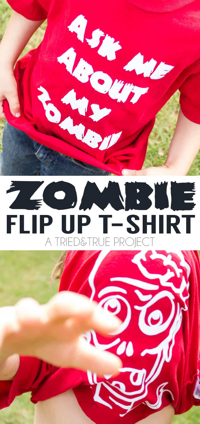 Make a super fun and silly Zombie Flip Up T-Shirt for your kids! Includes free Silhouette Studio cutting file. Braaaaains!