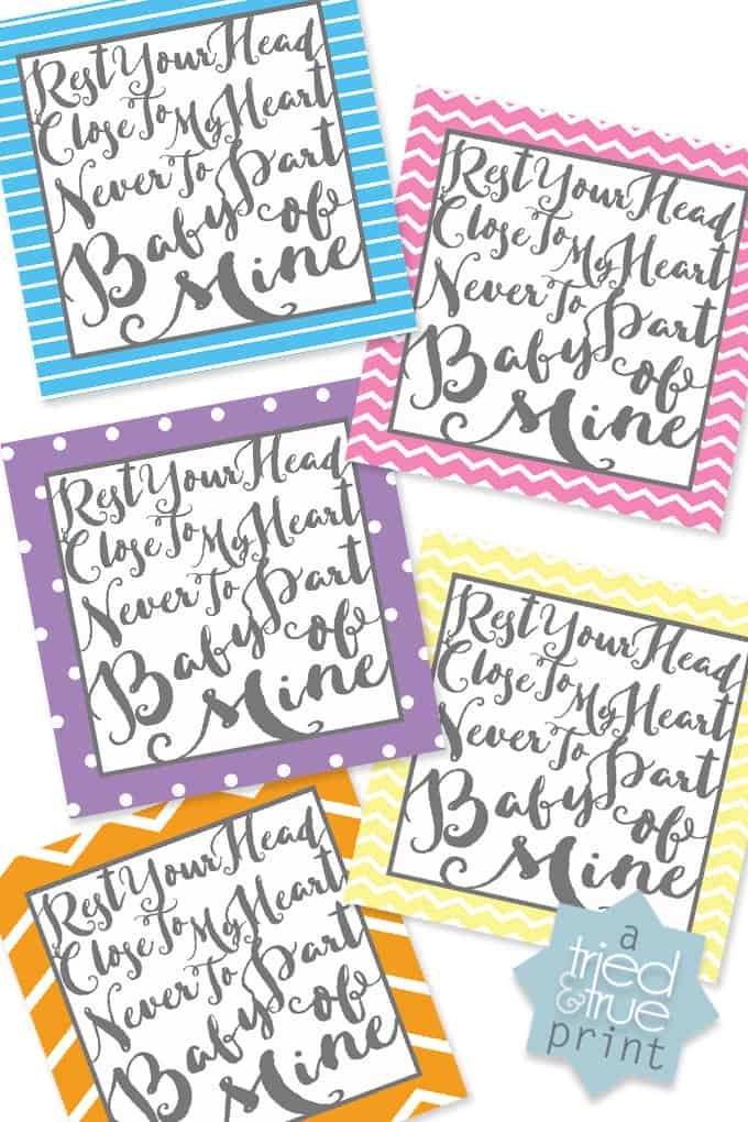 """Baby Mine"" New Baby Gift - Free Printable Art"