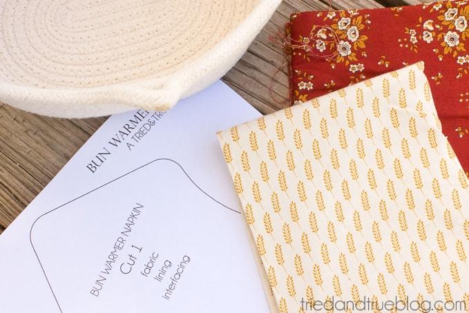Fabric Napkin Bread Warmer - Materials
