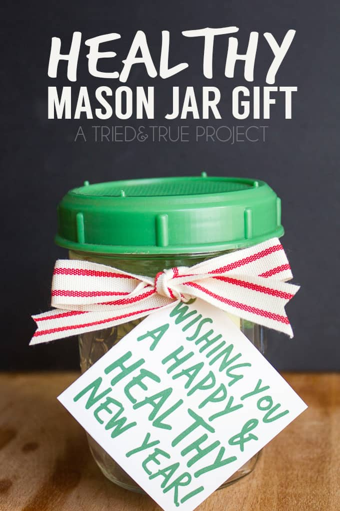 Looking for the perfect gift for a health conscious friend or co-worker? Check out this super easy Healthy Mason Jar Gift with free printable gift tag!