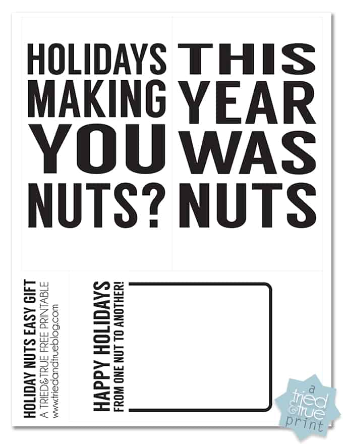 Holiday Nuts Quick & Easy Gift - Free Printable