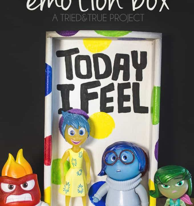 Help your children express emotion with this Inside Out Emotion Box! Super easy to make with just basic craft supplies!