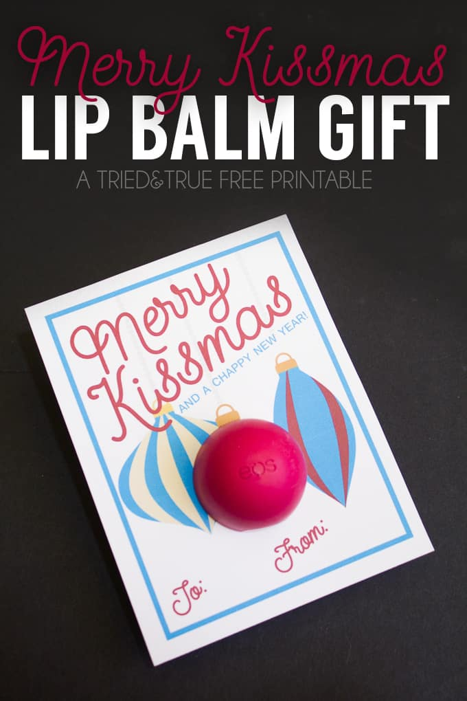 """This """"Merry Kissmas"""" Lip Balm Gift is super easy to make and perfect for last minute gifts to teachers, co-workers, or friends!"""