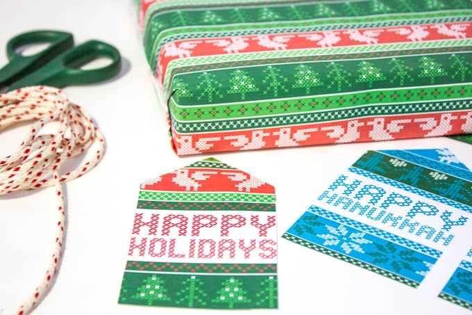 Free Nordic Holiday Gift Wrapping & Tags - Tags