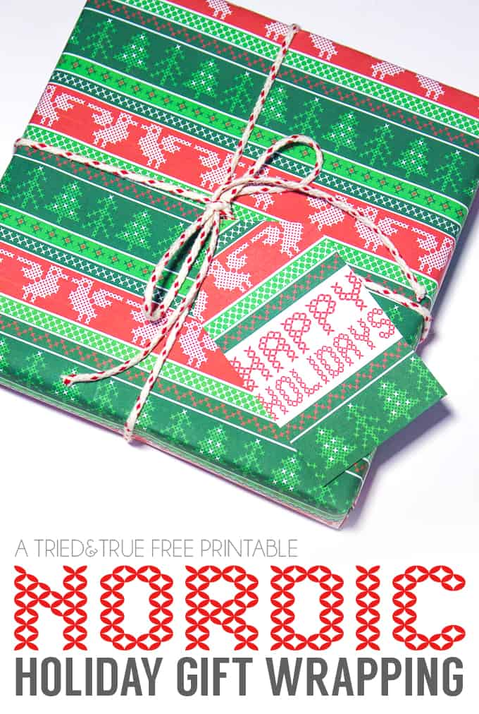 Need a quick gift? A box of chocolates and this Free Nordic Holiday Gift Wrapping & Tags is perfect!