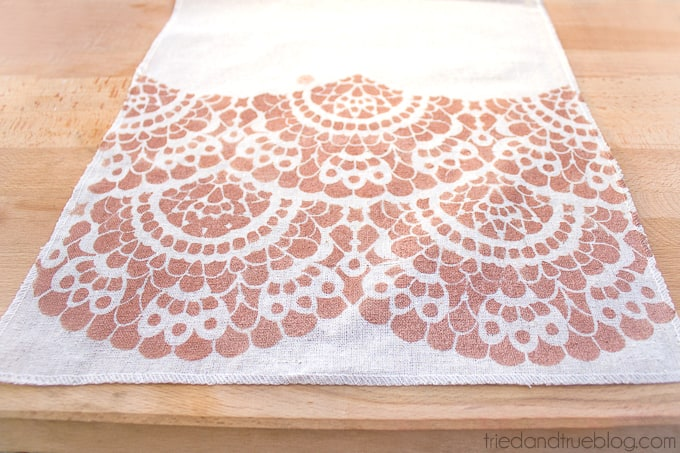Stenciled Lace Table Runner - Table Runner