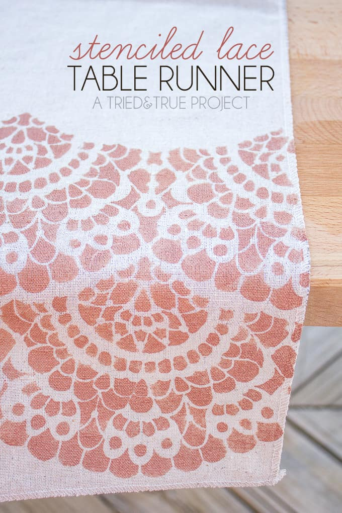 Make this super cute Stenciled Lace Table Runner for your next special meal!