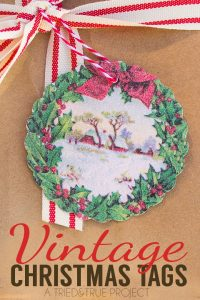 Add a bit of glam to the season with these Vintage Christmas Gift Tags! Super easy to make with printable glitter paper!