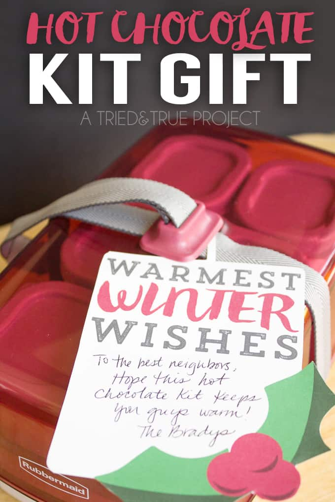This Easy Hot Chocolate Kit Gift comes together in just minutes and is a super functional present that can be used long after the season is over!