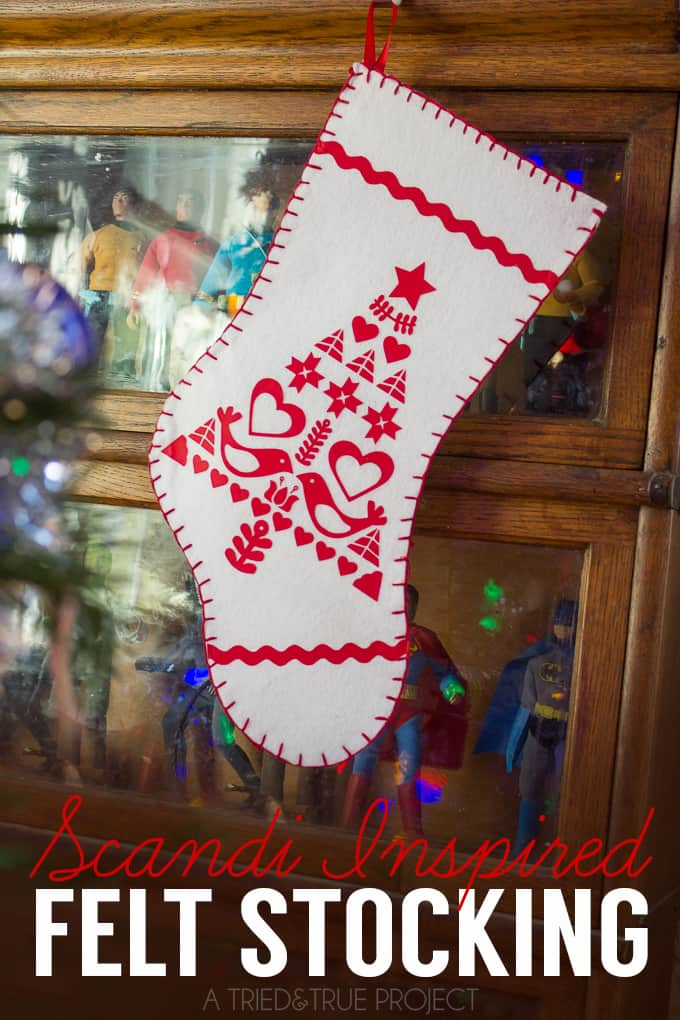 This Scandi Inspired Felt Stocking is super easy to put together with the free Silhouette file included!