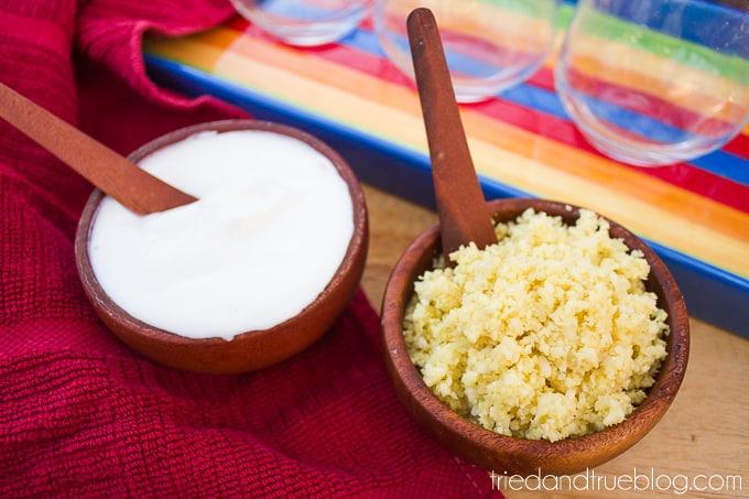 Healthier Elote en Vaso - Crema y Cotija