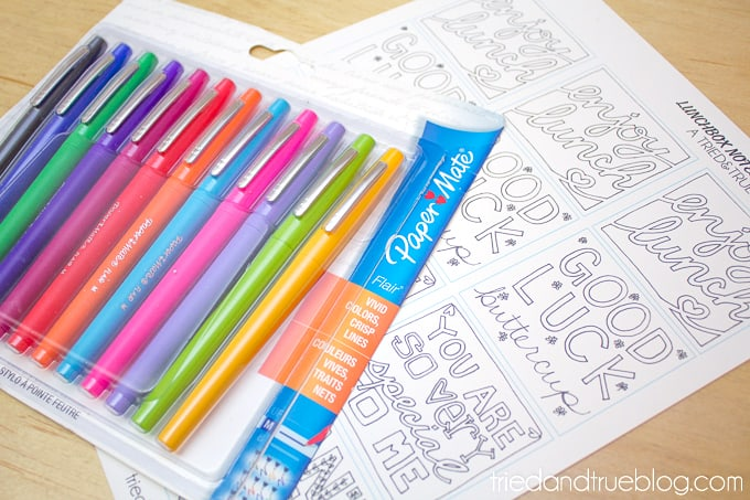 Lunchbox Notes Coloring Pages - Pens
