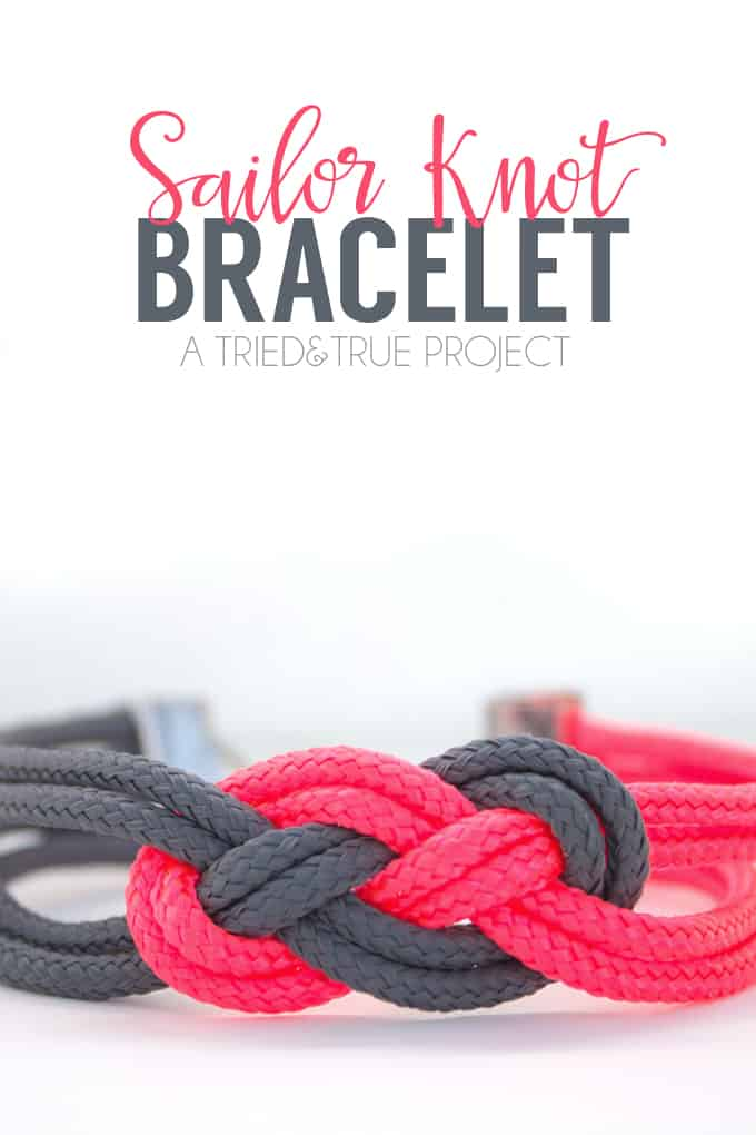 """Close up of pink and gray sailor knot bracelet with words """"Sailor Knot Bracelet"""""""