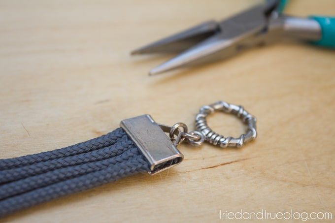 A pair of pliers used to add the jewelry finding to end of bracelet.