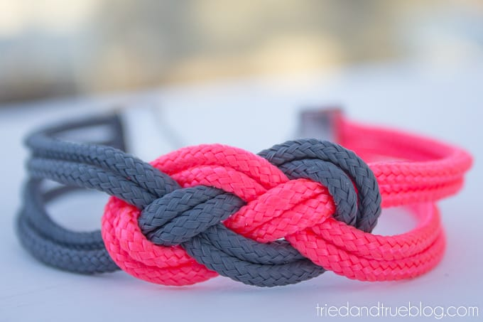 Close up of pink and gray sailor knot bracelet