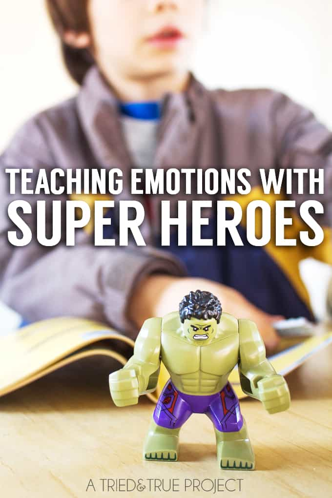 Teaching emotions with LEGO Super Heroes is a great way to work through the intense feelings kids have! Includes free printable emotion cards!