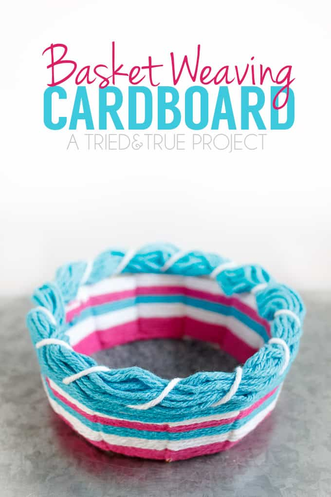 Use the free template to try this Super Easy Cardboard Basket Weaving!
