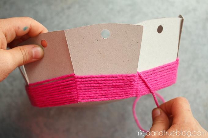 Super easy cardboard basket weaving tried true for Paper basket weaving template