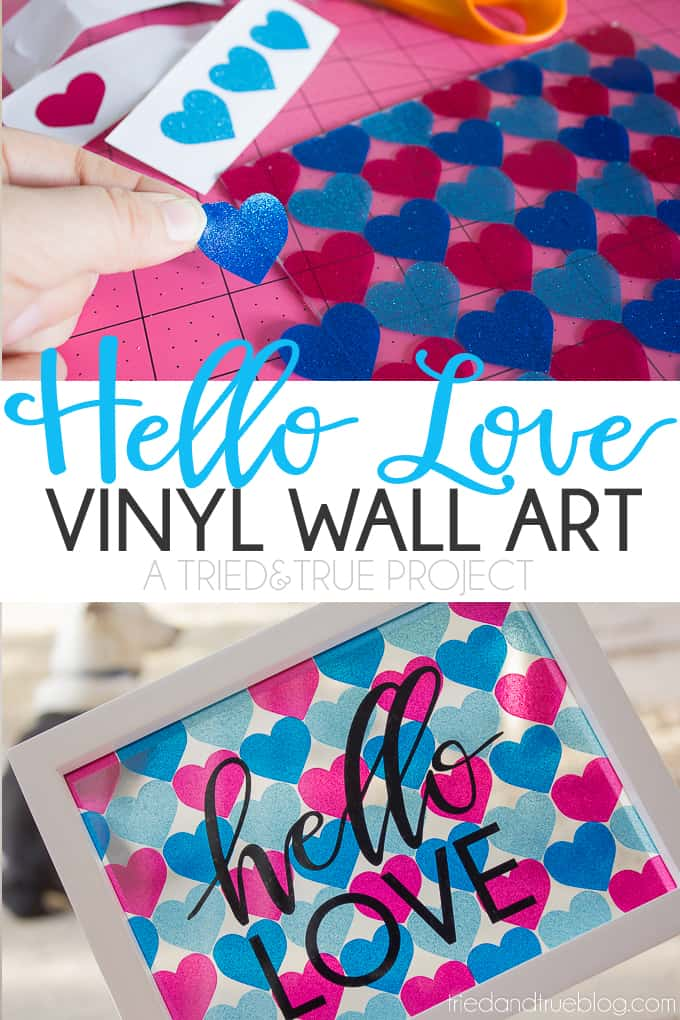 Make this pretty Hello Love Vinyl Wall Art with some glittered transparent vinyl, a cutting machine, and these free files!