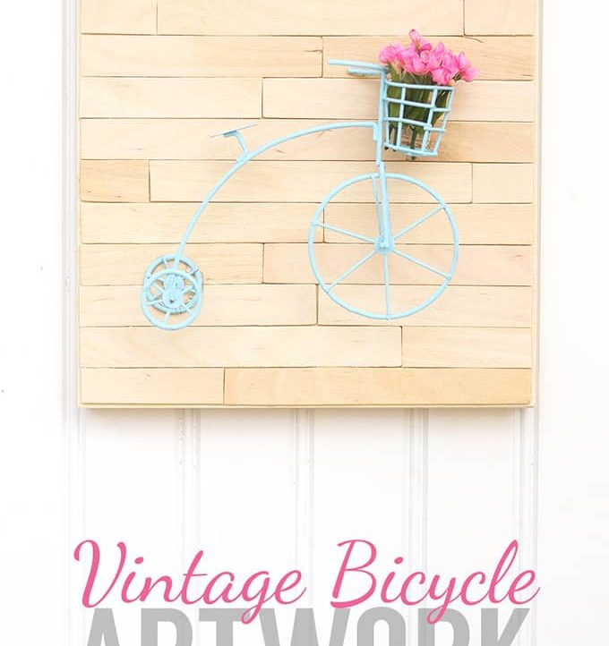 Welcome warmer weather with this Mini Vintage Bicycle Art! Super easy tutorial with just a few supplies needed.