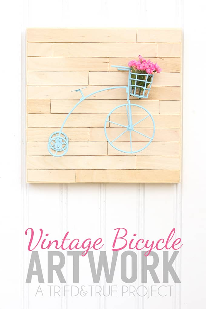 Welcome warmer weather with this Mini Vintage Bike Art! Super easy tutorial with just a few supplies needed.