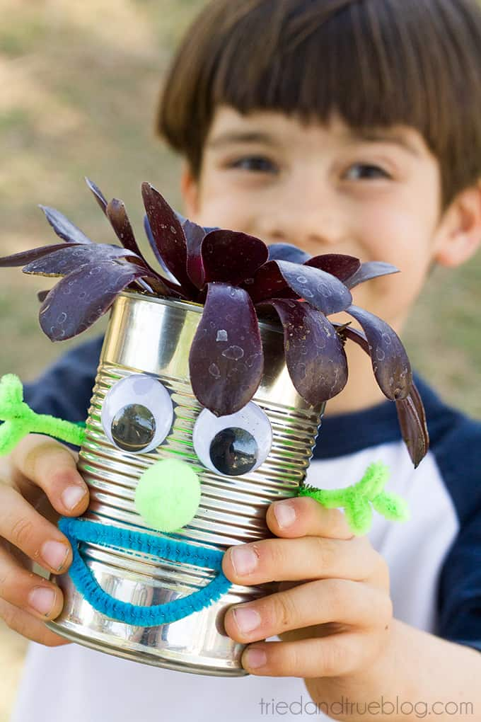 Earth Day Recycled Tin Can Planters - Happy
