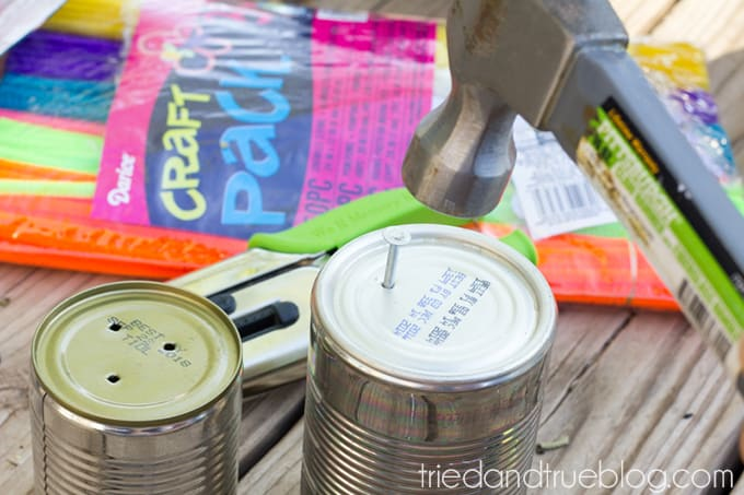 Earth Day Recycled Tin Can Planters - Nail