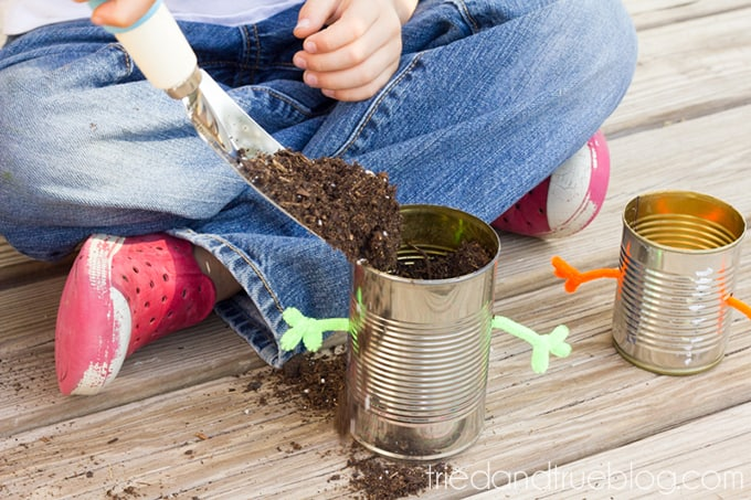 Earth Day Recycled Tin Can Planters - Soil