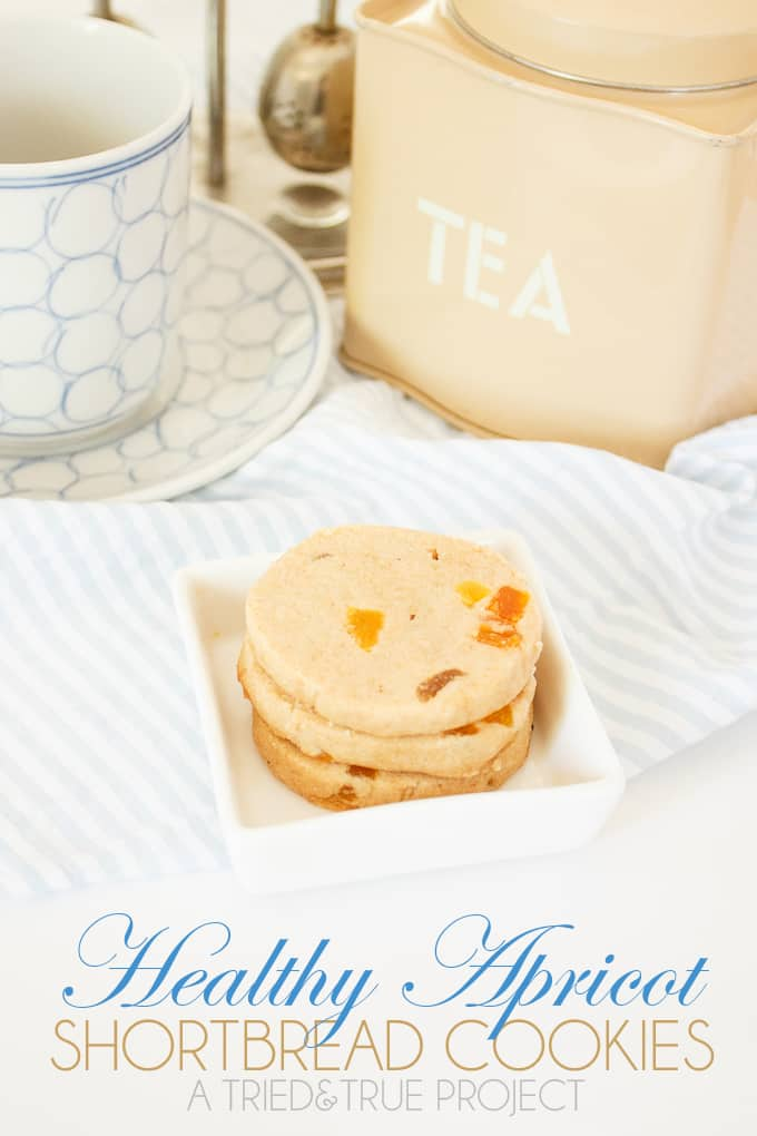 These Healthy Apricot Shortbread Cookies are perfect with coffee and tea! Since they're sweetened with dried fruit and juice, you won't have to worry if the kids eat more than one!