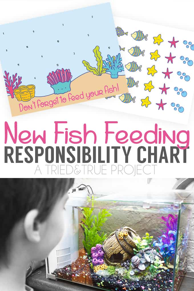 Use this fun Fish Feeding Responsibility Chart to help kids remember to feed their new pet! Includes optional sticker sheet as well!