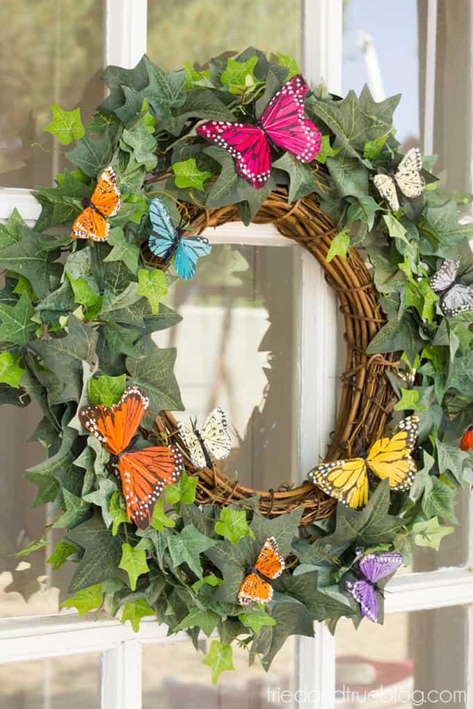 Spring Butterfly Wreath DIY - Display
