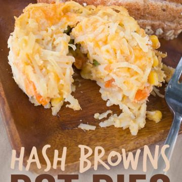 These Hash Browns Pot Pies are easy to make ahead and freeze for a super quick meal!