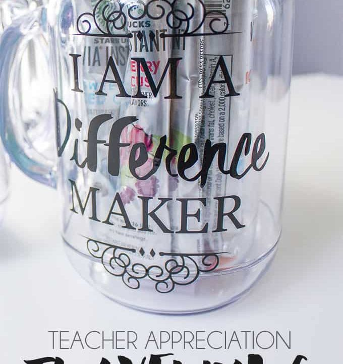Use this free cutting file to turn a basic mason jar into a Teacher Appreciation Travel Mug!
