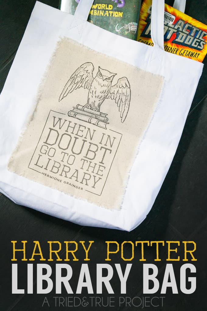 Making this Harry Potter Library Bag is super easy with the free printable included in this tutorial!
