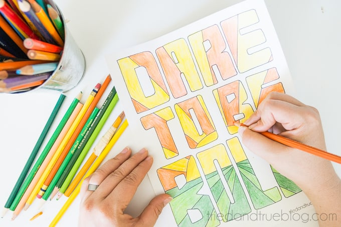 Be Brave Free Coloring Page - Color